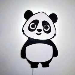 lampka led panda drewniana