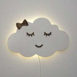 lampka chmurka biała z powiekami