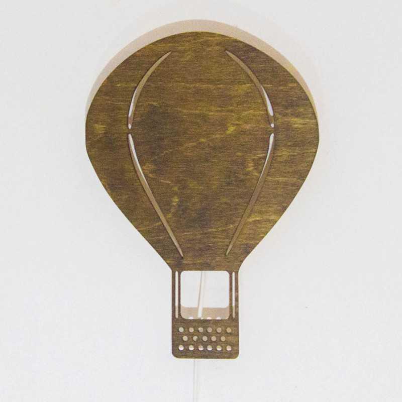 drewniana lampka balon brązowa